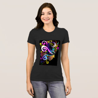 'Woman in a colorful masquerade' face art, black, T-Shirt