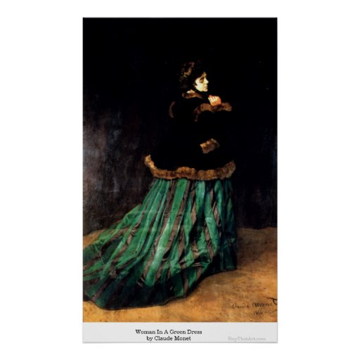 Woman In A Green Dress by Claude Monet Poster