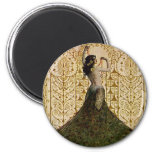 Woman in a Peacock Skirt 6 Cm Round Magnet