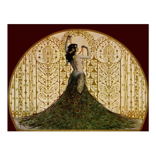 Woman in a Peacock Skirt Post Card