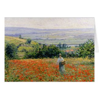 Woman in a Poppy Field Card