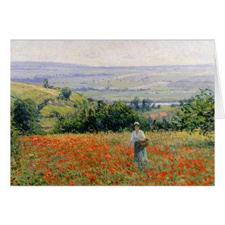 Woman in a Poppy Field Greeting Card