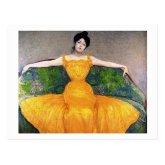 Woman in a Yellow Dress by Max Kurzweil Postcard