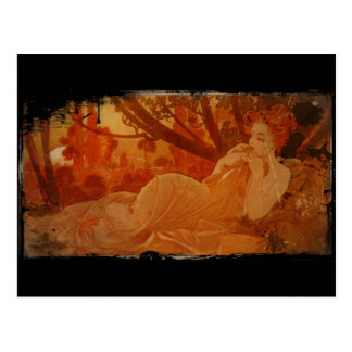 Woman in Autumn Leaves Postcard