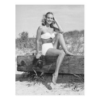 Woman in Bikini Postcard