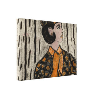 Woman in black and orange canvas print