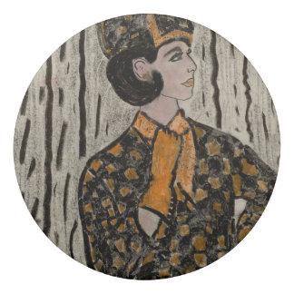 Woman in black and orange eraser