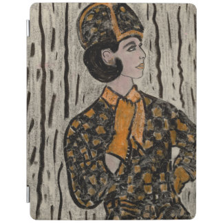Woman in black and orange iPad cover