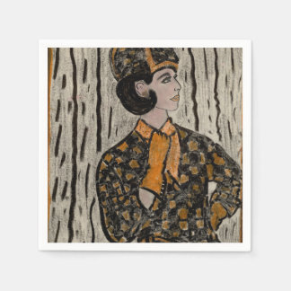 Woman in black and orange paper serviettes