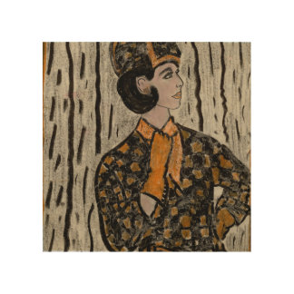 Woman in black and orange wood wall art