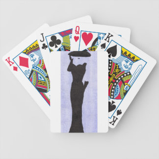 Woman In Black Bicycle Playing Cards
