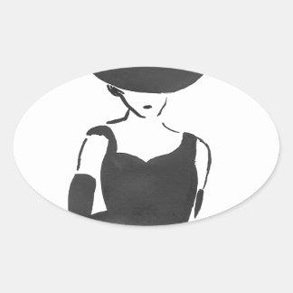 Woman in Black Oval Sticker