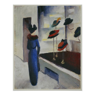 Woman in Blue at the Hat Shop 1913 August Macke Poster