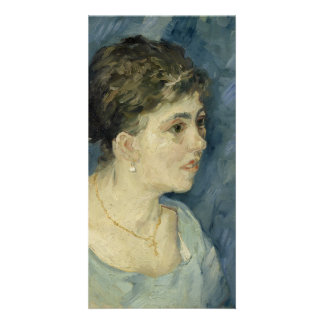Woman in Blue by Vincent Van Gogh Customized Photo Card
