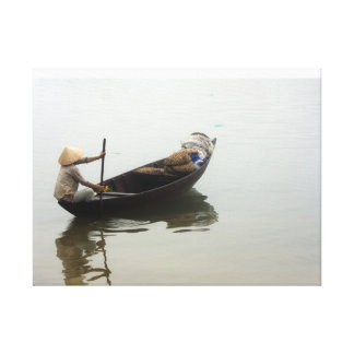 Woman in boat canvas print