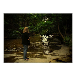 Woman in Cascadilla Gorge Poster