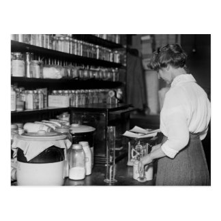 Woman in Chemistry Lab, 1910s Postcard
