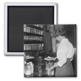 Woman in Chemistry Lab, 1910s Square Magnet