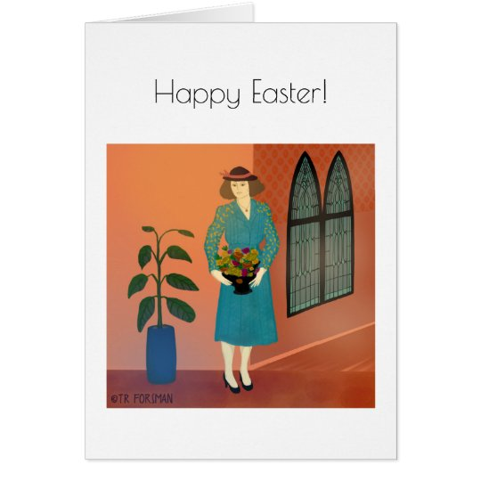 Woman in church painting card