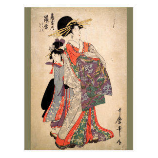 Woman in colorful kimono postcard