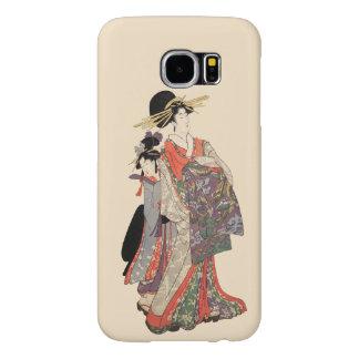 Woman in colorful kimono (Vintage Japanese print)