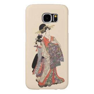 Woman in colorful kimono (Vintage Japanese print) Samsung Galaxy S6 Cases
