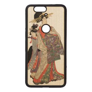 Woman in colorful kimono (Vintage Japanese print) Wood Nexus 6P Case