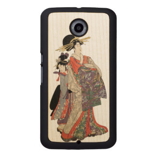 Woman in colorful kimono (Vintage Japanese print) Wood Phone Case
