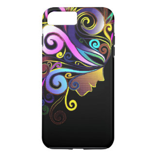 """Woman in colorful Masquerade"" face art black iPhone 8 Plus/7 Plus Case"