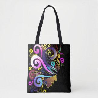 """Woman in colorful Masquerade"" face art, black, Tote Bag"