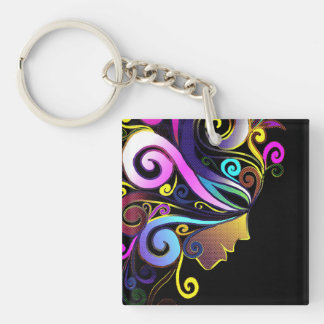 """Woman in colorful masquerade"", face art, Key Ring"