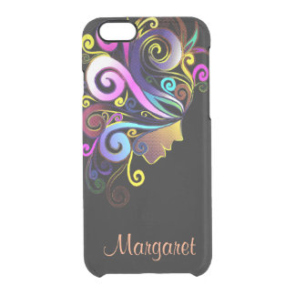 Woman in colorful masquerade, face art, monogram, clear iPhone 6/6S case