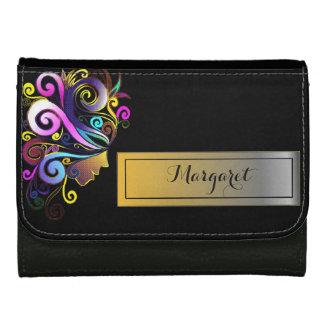 Woman in colorful masquerade, face art, monogram, wallet