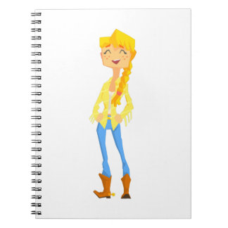 Woman In Cowboy Disguise Stading Smiling With Hand Spiral Notebook