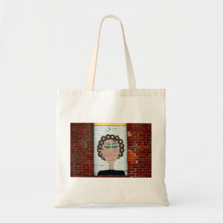 Woman in Curlers Budget Tote Bag