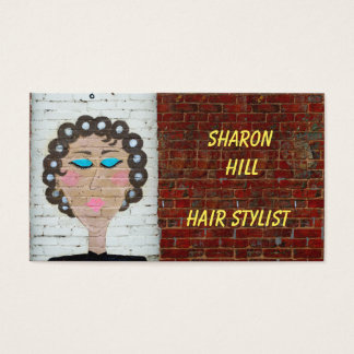 Woman in Curlers Business Card