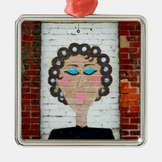 Woman in Curlers Metal Ornament