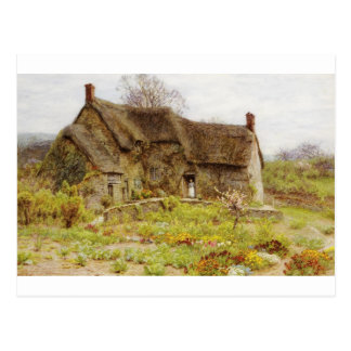Woman In Dorset Cottage Doorway Postcard
