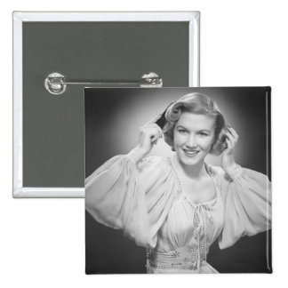 Woman in Dress 2 15 Cm Square Badge