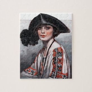 Woman in Embroidered Blouse Jigsaw Puzzle