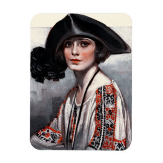 Woman in Embroidered Blouse Rectangular Magnet