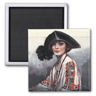 Woman in Embroidered Blouse Square Magnet