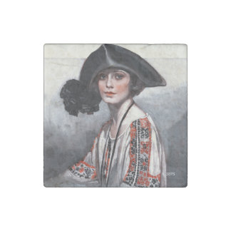 Woman in Embroidered Blouse Stone Magnet