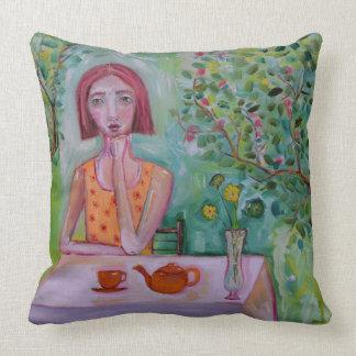 Woman in Garden Cushion