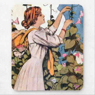 Woman in Garden Mouse Pad