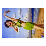 Woman in green bikini poster