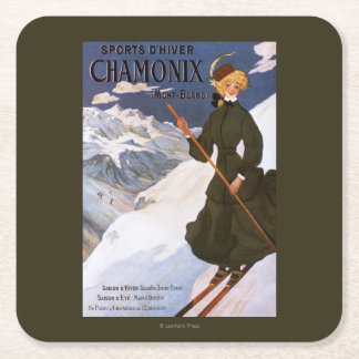 Woman in Green Skiing Poster Square Paper Coaster