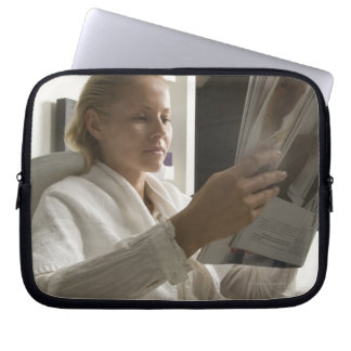 Woman in hairdressing salon laptop computer sleeves