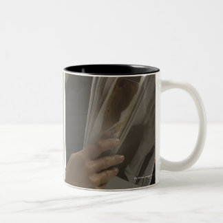 Woman in hairdressing salon Two-Tone mug
