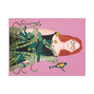 Woman in her jungle painting canvas print